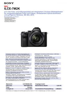 Datenblatt ILCE-7M2K von Sony