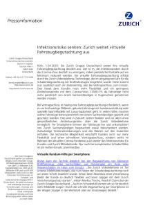 Infektionsrisiko senken: Zurich weitet virtuelle Fahrzeugbegutachtung aus