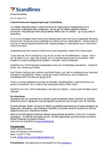 Lolland Kommunes Integrationspris går til Scandlines