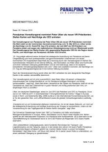 Panalpinas Verwaltungsrat nominiert Peter Ulber als neuen VR-Präsidenten; Stefan Karlen soll Nachfolge als CEO antreten