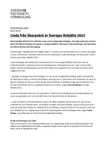 Linda från Skarpnäck är Sveriges Bohjälte 2013