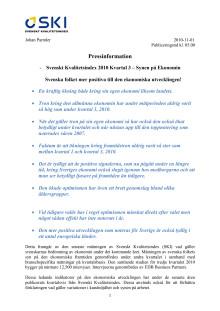 -Svenskt Kvalitetsindex 2010 Kvartal 3 – Synen på Ekonomin