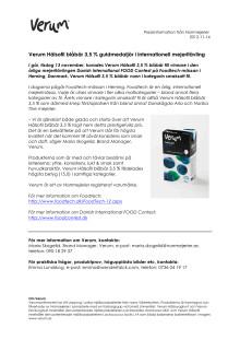 Verum Hälsofil blåbär 3,5 % guldmedaljör i internationell mejeritävling