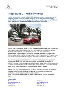 Peugeot 208 GTi nummer 10 000!