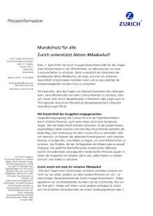 Mundschutz für alle. Zurich unterstützt Aktion #MaskeAuf!