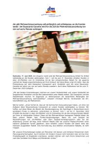 dm gibt Mehrwertsteuersenkung vollumfänglich und artikelgenau an die Kunden weiter.