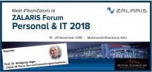 ZALARIS Forum Personal & IT 2018 in Köln  vom 19. - 20. November 2018 - jetzt anmelden
