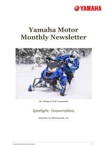 Yamaha Motor Monthly Newsletter No.12(Dec.2013) Snowmobiles