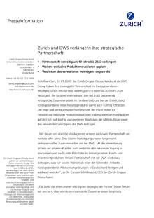 Zurich und DWS verlängern ihre strategische Partnerschaft