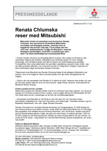 Renata Chlumska reser med Mitsubishi