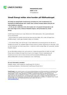 Umeå Energi möter sina kunder på Rådhustorget