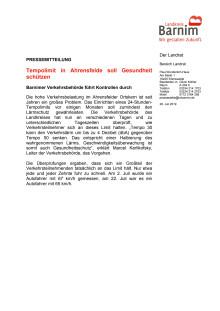 Tempolimit in Ahrensfelde soll Gesundheit schützen