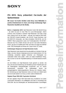 IFA 2015: Sony präsentiert Car-Audio der Spitzenklasse