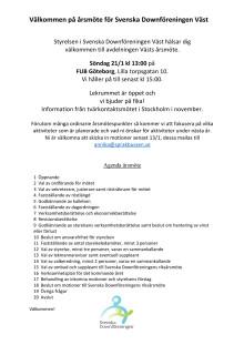 Årsmöte Sv DF Väst söndag 21 januari 2018, kl 13
