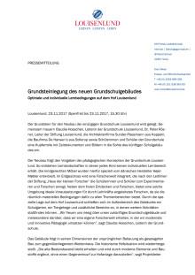 Grundsteinlegung des neuen Grundschulgebäudes in Louisenlund