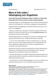Mera el från solen i Helsingborg och Ängelholm