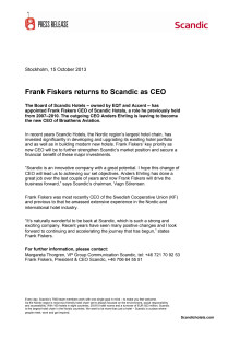 Frank Fiskers returns to Scandic as CEO
