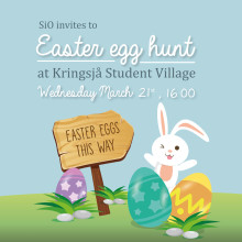 SiO inviterer til påskeeggjakt på Kringsjå Studentby onsdag 21. mars kl. 16.00!