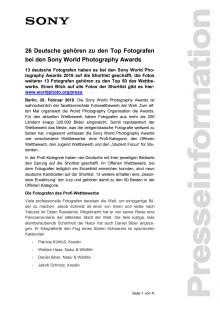 26 Deutsche gehören zu den Top Fotografen bei den Sony World Photography Awards