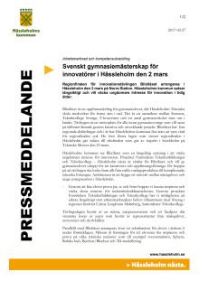 Svenskt gymnasiemästerskap för innovatörer i Hässleholm den 2 mars