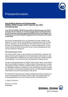 Hohe Qualität der Beratung und Produkte  bestätigt: SIGNAL IDUNA Gruppe erhält Testat für  den GDV-Verhaltenskodex