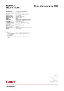 DM-E100 Spec sheet