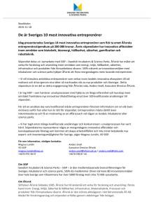 De är Sveriges 10 mest innovativa entreprenörer