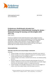 Friskolornas riksförbunds yttrande över Skolkommissionens betänkande