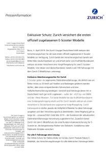 Exklusiver Schutz: Zurich versichert die ersten offiziell zugelassenen E-Scooter Modelle