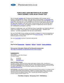 FORD B-MAX UDEN MIDTERSTOLPE SCORER FEM STJERNER I EURO NCAP CRASH-TEST