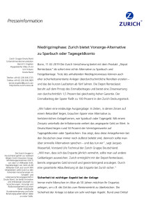Niedrigzinsphase: Zurich bietet Vorsorge-Alternative zu Sparbuch oder Tagesgeldkonto