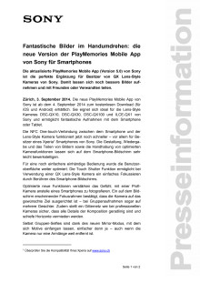Medienmitteilung_PlayMemories MobApp5_D-CH_140903