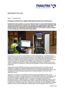 Panalpina erweitert ihre Logistics Manufacturing Services mit Ericsson