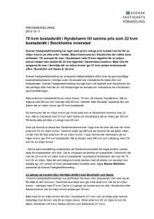 Pressmeddelande: 70 kvm bostadsrätt i Nynäshamn till samma pris som 22 kvm bostadsrätt i Stockholms innerstad