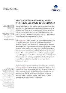 Zurich unterstützt GeoHealth, um die Verbreitung von COVID-19 einzudämmen