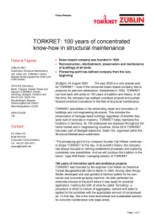 TORKRET: 100 years of concentrated know-how in structural maintenance