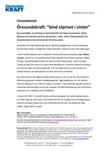 "Öresundskraft: ""bind elpriset i vinter"""