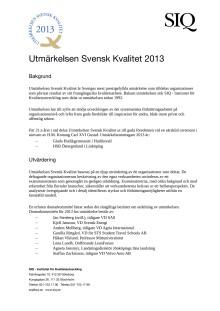Presentation av Utmärkelsen Svensk Kvalitet