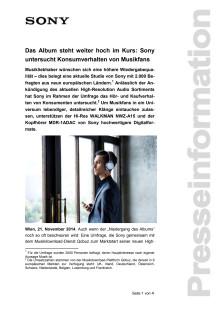 """Pressemitteilung """"Das Album steht weiter hoch im Kurs: Sony untersucht Konsumverhalten von Musikfans"""""""