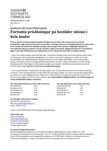 Kommentar till Svensk Mäklarstatistik: Fortsatta prisökningar på bostäder nästan i hela landet