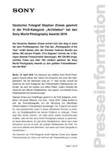 """Deutscher Fotograf Stephan Zirwes gewinnt in der Profi-Kategorie """"Architektur"""" bei den Sony World Photography Awards 2019"""