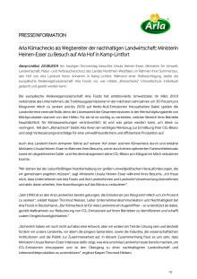 Arla Klimachecks als Wegbereiter der nachhaltigen Landwirtschaft: Ministerin Heinen-Esser zu Besuch auf Arla Hof in Kamp-Lintfort