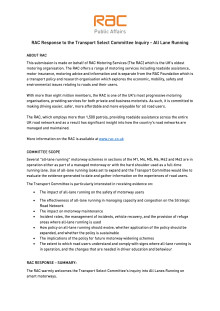 RAC submission to the Transport Select Committee inquiry into all lane running