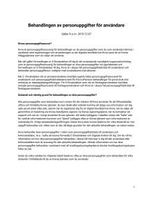 Behandlingen av personuppgifter för användare (gäller t.o.m. 2019-12-06)