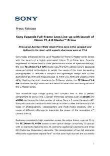 Sony utvider sin objektivserie for fullformat kameraer med lanseringen av  24mm F1.4 G Master™ Prime