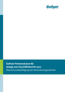 Gothaer Pensionskasse AG: Anlage zum Geschäftsbericht 2017
