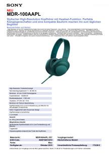 Datenblatt h.ear on von Sony_blau