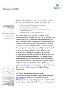 Einkommenssicherung im Fokus: Zurich startet 2021 mit verbesserten Biometrie-Produkten