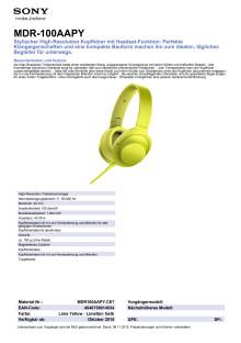 Datenblatt MDR100AAPY von Sony