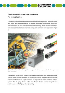 Plastic-moulded circular plug connectors: For every situation